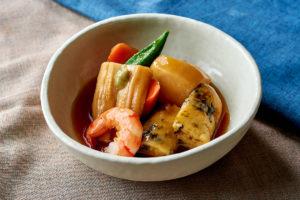 「あおさ生麩~季節の野菜の炊き合わせ~」