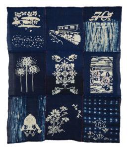 藍染めのタペストリー 創立70周年を祝って